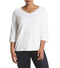 NWT STUDIO WORKS WHITE WITH LACE V NECK COTTON SIZE 2X TOP RETAILS $34.00