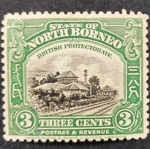 "North Borneo 1909-23, ""Jesselton Railway Stn."" 3c. Green mh"