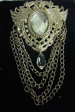 VINTAGE  ART NOUVEAU SILVER BROOCH CHAIN Crystal Dangle