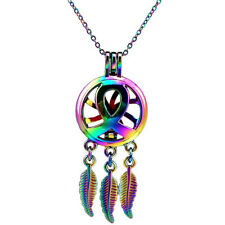 C725 Dream Catcher Ribbon COLORFUL Aroma Locket Stainless Steel Chain 18""