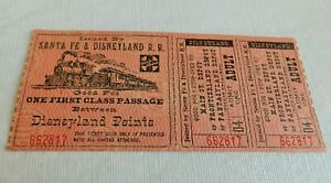 AWESOME! 1957 VINTAGE DISNEYLAND SANTA FE RAILROAD TICKET PLUS!