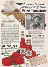 1926 Ad Monarch's Catsup & Chili Sauce Girl w Huge Tomato--Coupon for Free Seeds