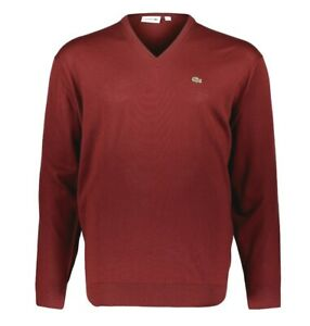 Lacoste Mens Jumper BNWT size XL (6) Bordeaux Red V Neck Wool AH3015 BNWT