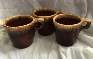 Lot of 3 Hull Brown Drip Glaze Oven Proof USA Cups Mugs Vintage