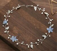 Women flower Girl wedding Blue flower Party silver leaf Hair band Headband Tiara