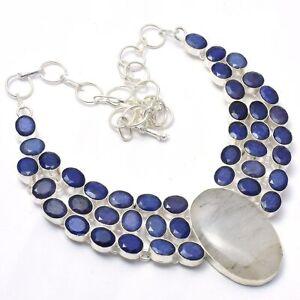 "Black Rutiled, Tanzanite Gemstone 925 Sterling Silver Jewelry Necklace  18"""