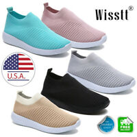 Women Fashion Air Cushion Sneakers Breathable Mesh Slip-On Running Sock Shoes