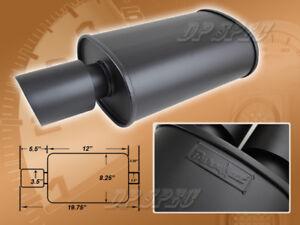 SPUNLOCKED EXHAUST MUFFLER CAP DOUBLE WALL SLANT TIP FOR CHEVROLET PONTIAC BLACK