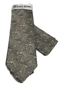 Stacy Adams Men's Tie & Hanky Set Beige & Black Hand Made 100% Microfiber