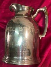 Vtg Hotel Statler Stanley hot water pitcher, nickel-plated brass w/intact liner