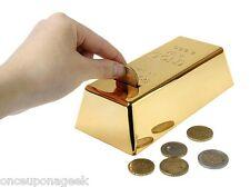 999.9 Gold Bullion Bar Piggy Bank Brick Coin Bank Saving Money Box NOVELTY GIFT