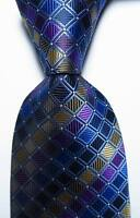 New Classic Plaids Blue Gold Purple  JACQUARD WOVEN 100% Silk Men's Tie Necktie