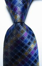 New Classic Plaids Blue Gold Purple  JACQUARD WOVEN 100% Silk Men's Tie Necktie