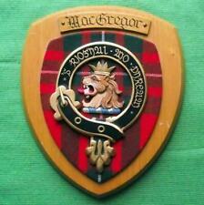 More details for vintage old scottish carved clan macgregor tartan plaque crest shield zz