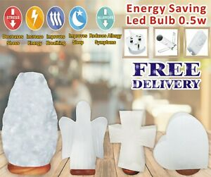 LED Bulb HIMALAYAN SALT LAMP CRYSTAL White ROCK NATURAL HEALING 100% GENUINE