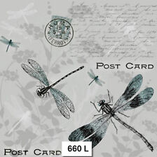 TWO (2) Paper Luncheon Napkins for Decoupage (660) DRAGONFLY, POST CARD, GRAY
