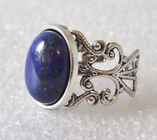 Synthetic Lapis Lazuli Gemstone Adjustable Filigree-Style Ring L-T in Gift Box
