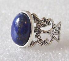 Genuine Lapis Lazuli Gemstone Adjustable Filigree-Style Ring L-T in Gift Box