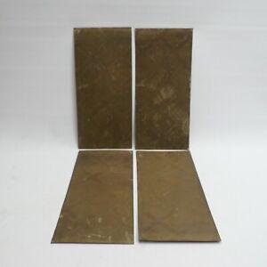 Brass Door Push Plates Patterned Embossed Cross Hatch x4 Bundle Lot Vintage