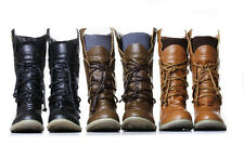 New Womens Winter Biker Ladies Low Flat Heel Mid Calf Walking Boots Sizes