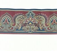 D W Wallcovering Wallpaper Border Paisley Floral Pattern #277 Burgundy Blue 4 yd