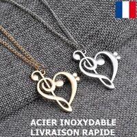 Collier Pendentif Coeur Clé De Sol Acier Inoxydable Bijoux Cadeau Fête Des Mères