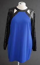 ANNA SCHOLZ Designer Top, Ponte & PU Long Sweatshirt, Blau-Schwarz, Gr. 44, neu