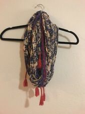 Urban Outfitters Red Floral Infinity Scarf Lace Tassel Spring Bandana Shawl Wrap
