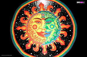 UV BACKDROP Blacklight Fluorescent Glow Psychedelic Art Banner Tapestry Psy Deco