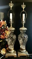 Vintage Cut Crystal Large Urn Lamps with gold and silver accents Mid Century - 2