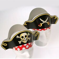 12 Fun Paper Pirate Hats for Childs Birthday Party School Treasue Hunt Skull