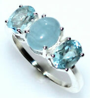 3 stone Blue Topaz + Aquamarine Ring 925 Sterling Silver Band Size 5½ L to 10, U