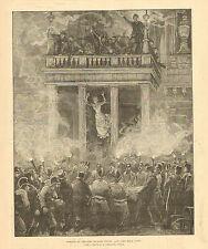 Vienna, Austria, Ring Theatre Fire, Firemen Rescue Jumpers, Antique Art Print,