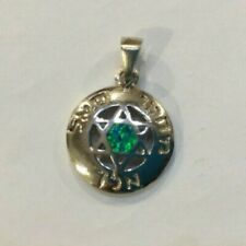 925 Sterling Silver David Star Pendant with Blue & Green Opal Jewelry