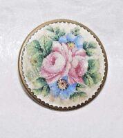 Antique Broyé Verre Rose Floral Broche / Épingle Bon Etat
