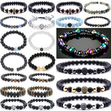 Mode Männer Spot Natürliche Lava Stein Silber Buddha Perlen Charm Armband