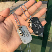 Cool Men Military Army Bullet Dog Tags SINGLE EMBOSSED Chain Pendant Necklace