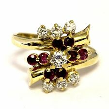 18k yellow gold .46ct SI1 H diamond ruby cluster ring 5.4g ladies estate womnes