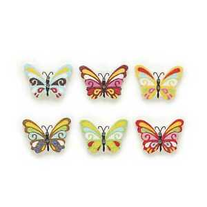 30pcs Butterfly Wood Buttons for Sewing Scrapbooking Clothing Headwear 25x17mm