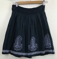 Zara Womens Xsmall Navy Blue Skirt Embroidered Bohemian Peasant Stretch Pull on