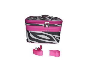Cosmetic case beautiful zebra Or Leopard print medium size with shoulder strap.