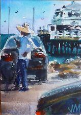 Malibu Pier ACEO Original collectible art card Watercolor Painting