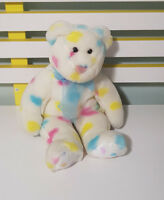 TY BEANIE BEAR WHITE AND COLOURED HEARTS TOY SOFT TOY PLUSH TOY 23CM TALL!