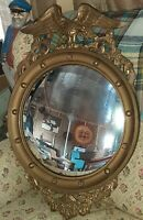 "Antique American Eagle Convex Bullseye Mirror Wall Plaque Wood Gold 29""x19"""