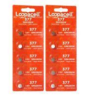 10 New Loopacell 377 SR626SW SR626W SR66 377 1.55V Silver Oxide Watch Batteries