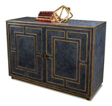 "53"" W Cabinet Blue Leather with Gold Piping Detail Wood MDF Transitional"