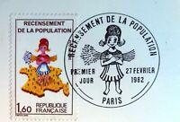 FRANCE 2202 VARIETE SANS LE 7  FEUILLET PHILATÉLIQUE CEF 624 RECENSEMENT