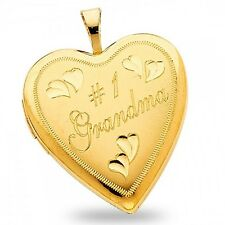 Heart Grandma Number # 1 Pendant 14k Yellow Gold Engraved Locket Charm Solid