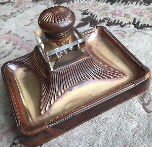 Early Victorian Cut Crystal Inkwell With Ornate Hinged Lid & Gold Plated Stand