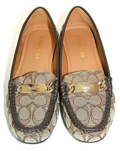 """COACH Signature CC Logo Brown """"Olive"""" LOAFERS, Gold Buckle, Size 7 B, EXCELLENT!"""